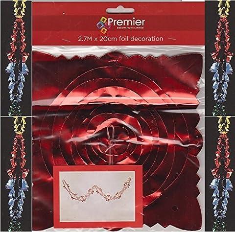 Folie Garland Weihnachtsdekoration Bunt Gold Rot, Blau, Grün 2.7M x 20cm