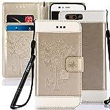 Slynmax Coque Huawei P10 Wallet Housse Huawei P10 Rouge Blanc Bleu PU Cuir [Peint] en Flip Coque de avec Fermeture Magnétique et Cartes Slots de Coquille avec Fonction Stand pour Huawei P10-Or