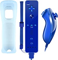 WII-Controller, XW02 Nintendo WII Fernbedienung und Nunchuk mit Silikonhülle Handschlaufeeingebauter Vibrationsmotor für WII und WII U Dunkle Blau (Drittanbieter Produkt)
