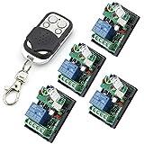 Owfeel - 4 conmutadores/relés inalámbricos inteligentes RF con mando a distancia, 24 V, 1 canal, color blanco y negro