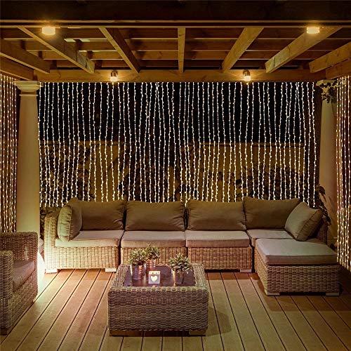 Mr.Fragile 300 LED 3 * 3M Tropfen Fenstervorhang Eiszapfen Lichter String Lichterkette Warmweiß Niederspannungsstecker, Netzteil Für Hochzeit Garten Backdrops,3 * 3300LED -