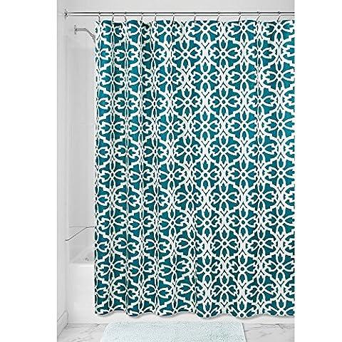 InterDesign Adele Duschvorhang | Duschvorhang mit Ösen in 183,0 cm x 183,0 cm | waschbarer Duschvorhang mit tollem Muster | Polyester petrol/weiß
