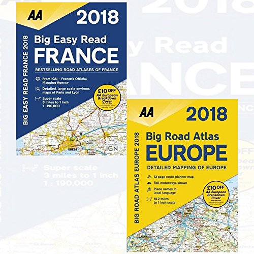 AA Big Easy Read France 2018 Collection 2 Books Bundles (AA Big Road Atlas Europe 2018)