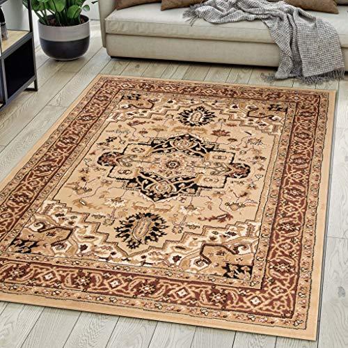 Carpeto Rugs Alfombra de salón Oriental Persa Pelo Corto Beige 120x17