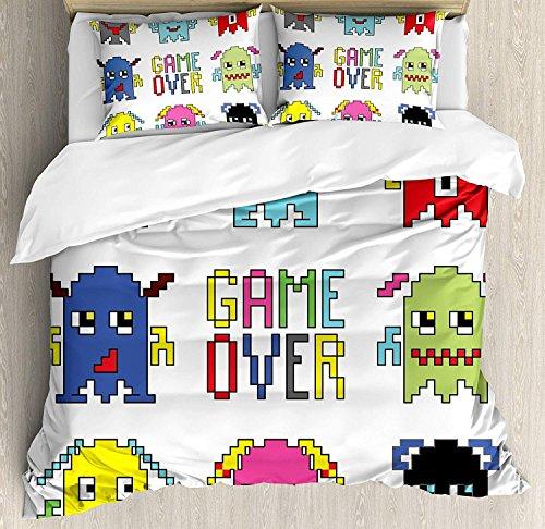 s Bettwäscheset Bettbezug-Set, Pixel-Roboter-Emoticons mit Game-Over-Zeichen Inspiriert von 90er Jahre Computerspielspaß Kunstdruck, 3-tlg. Tröster- / Qulitbezug-Set mit 2 Kissenbe ()