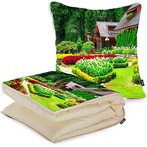 i FaMuRay Custom Home Bed Decoration Square Pillow with Blanket, Gardens Grass Houses Nature Shrubs Tulips