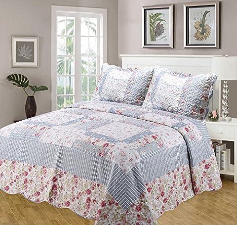 Lit king size Julie Couvre-lit Set, couvre-lit/Plaid sur et housses d'oreiller, matelassé Multi Bord festonné, Patchwork Fleurs Bordure florale à rayures, Bleu Rose sombre Vert