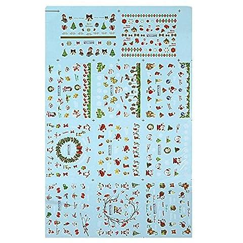 Aufkleber und Klebstoffe - SODIAL(R)Nagel Kunst Weihnachtsaufkleber mit dem Design