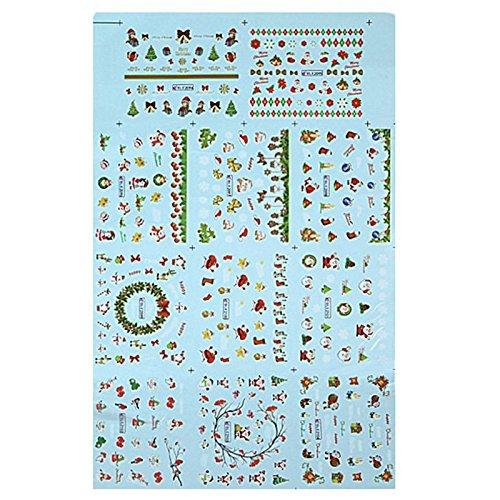 Weihnachtsbaum Eigenen Santas (Aufkleber und Klebstoffe - TOOGOO(R)Nagel Kunst Weihnachtsaufkleber mit dem Design von Santa Claus und Rentier, Schneeflocken Schnee gemischter Tag)