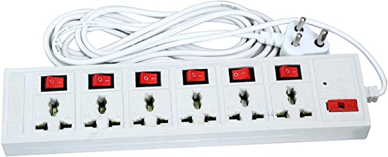 Power Extension Board by Madhram | Suitable for household, office, computer and its peripherals | Power cable with 4 yards | Multi-plug 6 international 3 pin sockets with One switch | Fuse and Spark Suppressor, Led Indicator (White)