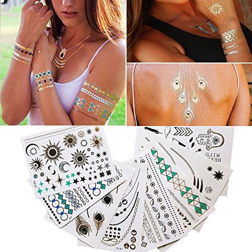 Metallic Temporäre Tattoos, Temporäre Klebe-Tattoos , Körper Tattoo Silber, Tattoos Gold, Designs Temp (Elegant)