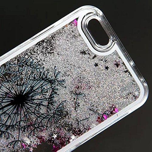 iPhone 7 Hülle Transparent,iPhone 7 Hülle Glitzer,iPhone 7 Case Slim,Schutzhülle Für iPhone 7 Hülle Transparent Hardcase,EMAXELERS 3D Kreative Liquid Bling Kristall Glitzer Hülle Case Für iPhone 7,iPh Heart Dandelion 4