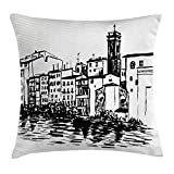 European Throw Pillow Cushion Cover, Venice City Sketch Style Hand Drawn Historical Buildings Tourist Town Picture, Decorative Square Accent Pillow Case, 18 X 18 inches, Black White