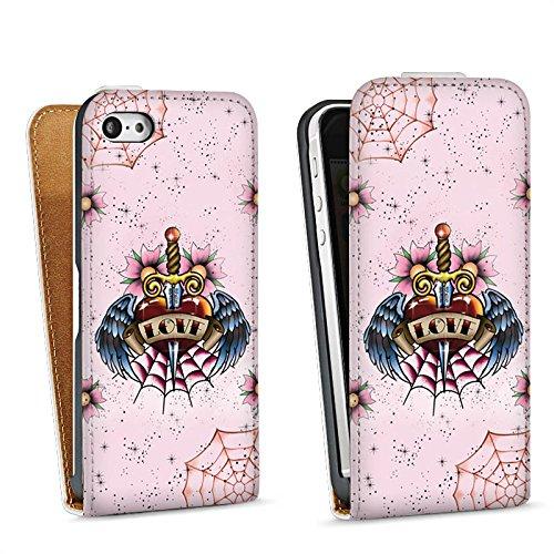 Apple iPhone 5s Housse Étui Protection Coque C½ur Ailes Épée Sac Downflip blanc