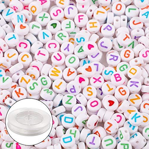 Crystal Alphabet (Outuxed 1500 Stück 4 * 7mm Acryl Runde Buchstaben Perlen Alphabet Perlen mit 1 Rolle 50M Crystal String Cord für Schmuckherstellung für DIY-Armbänder, Halsketten, selbstgemachtes Geschenk)