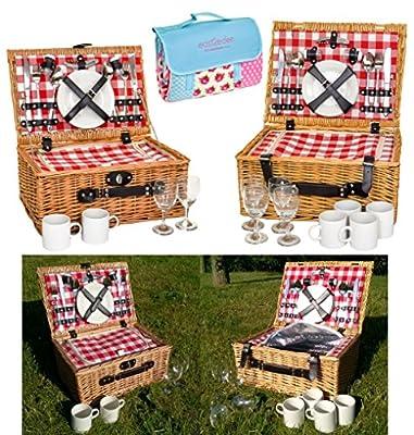 east2eden Vintage Gingham Full Wicker 2 or 4 Person Fitted Picnic Hamper Basket