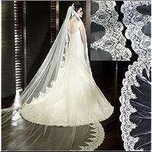 3 Meter largo bordado de una sola capa de encaje Edge novia boda velo