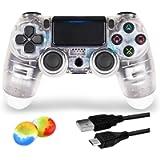 Controller Wireless Bluetooth per PlayStation 4 Joystick per Gamepad Con Cavo USB per PS4 / Windows/Android/iOS, Crystal
