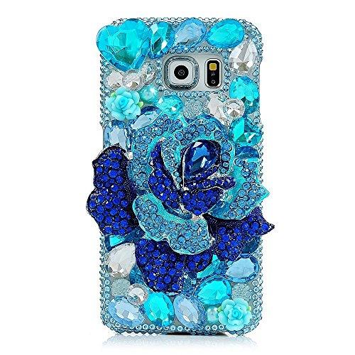 Evtech (TM) grande blu floreale fiore a forma di cuore Strass Bling Glitter Fashion Style (Grande Binder)