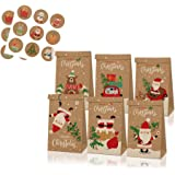 Zueyen - Confezione da 12 sacchetti natalizi per regali in kraft, squisiti assortimenti per feste, con 18 adesivi natalizi