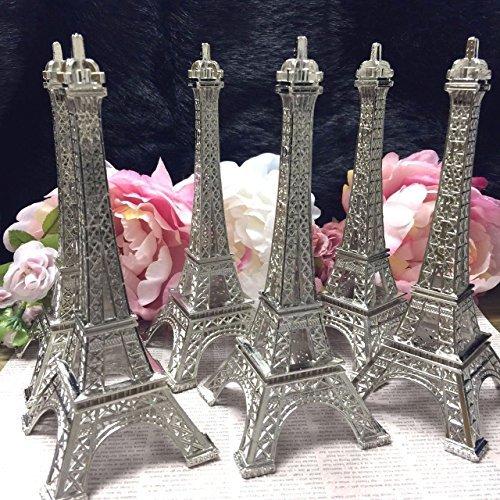 Ethrift 17,8cm (18cm) Silber Metall Eiffelturm Statue Figur Replica Mittelpunkt 6Stück