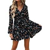 Nensiche 2019 Women Short Sleeve Wrap Boho Floral Mini Dress Ladies Summer Sundress Holiday V-Neck Women's High Waist Retro B
