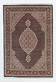 Nain Trading Indo Täbriz Royal 205x141 Orientteppich Teppich Dunkelbraun/Lila Handgeknüpft Indien