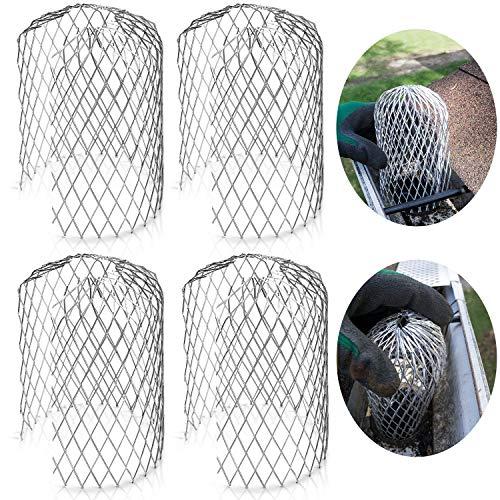 Filtro de Canaleta Protector de Bajante de Canal de Malla de 3 Pulgadas para Cubiertas de Filtro de Hojas y Filtros de Lluvia (Paquete de 4)