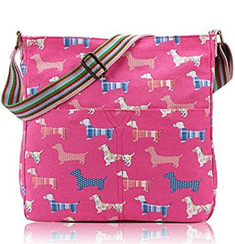 Cani da donna, in tela, borsa Messenger-Borsa a tracolla, da donna Fuchsia/Sausage/Dog