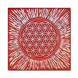 """Wandbild Blume des Lebens in Gold """"Kraft der Sonne"""" - Größe 50x50 cm viereckig - handgemalt mit Acrylfarbe auf Leinwand - gespannt auf viereckigen Keilrahmen - Hintergrund rot mit goldenen Strahlen"""
