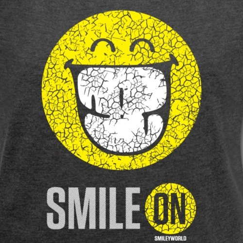 Spreadshirt Smiley World Sourire À Pleines Dents Smile On T-Shirt à Manches Retroussées Femme noir chiné