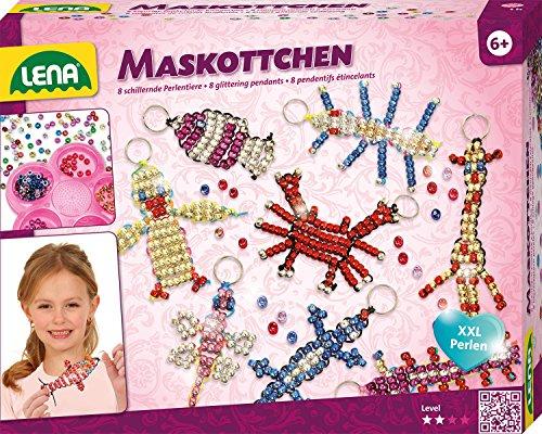 Lena 42690 - Bastelset für 8 Maskottchen, Komplettset mit 740 metallicfarbenen Fädelperlen, schwarzem Kordelband, 8 Schlüsselringen und Anleitung, Set zum Glücksbringer basteln für Kinder ab 6 - Maskottchen
