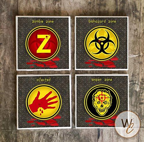 Zombie Drink Untersetzer, Set von 4, Walking Dead, Zombie Apokalypse Essential Schilder Keramik Fliesen, Survival, Gag Geschenk, Zombie Fan (Fan-gag)