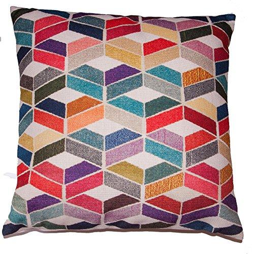 Kissenbezug Kissenhülle 50 x 50 cm Dekokissen Sofa Couch Kissen Zierkissen Hülle Leinen Baumwolle Bunt Mehrfarbig