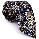 shlax&wing Men's Neckties Navy Gold Paisley