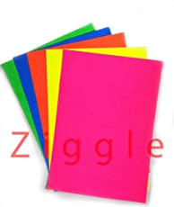 Ziggle 50 A4 neon colored sheets Printed A4 Size Sheets Double Sided Multicolor Fluorescent Neon Craft colored paper (50 A4 sheets)