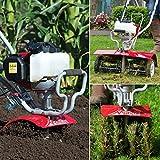Mantis Benzin Gartenfräse Rasenpflege-Sparpaket Deluxe - 1 Gartenfräse Deluxe + 2 Zubehörteile : Rasenlüfter und Moosentferner
