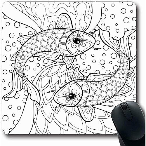 Mauspad Retro Erwachsene Malbuch Zeichnung Fisch Aktivität Abstrakt Natur Tiere Schwarz Kind Bleistift Farben Spielmatte Rutschfeste Gummi Mauspad Mousepad Büro Computer Laptop 25X30cm