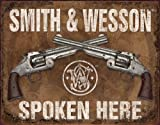 SMITH AND WESSON SPOKEN HERE BLECHSCHILD USA GROß NEU 40x31cm S2740