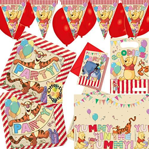 HHO Winnie Pooh Alphabet Dekoset 44tlg. für 6 Gäste Servietten Tischdecke Einladung Mitgebseltüten Wimpel Luftballons
