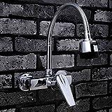 LI JING SHOP- Alle Bronze Universal drehen in die Wand Wasserhahn, Küche waschen die Teich Waschbecken einzigen Handgriff Doppel-Loch heiß und kalt führen, Größe: 17 * 45CM