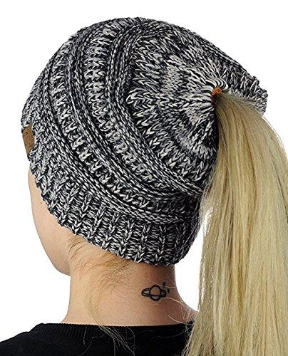 Damen Mädchen Gestrickt verdicken Hut Mit Zöpfen Loch Loop Strickschal Strickmütze Wintermütze (Schwarz + Grau) Warmen Zopf-hüte Für Frauen