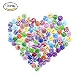 100 PCS Hölzernes Knopf bruch kinderknöpfe babyknöpfe zwei Loch knopf blumenpunkt hölzerne Knöpfe Kinder kleidet Dekoration knopf kinder DIY15mm (Color 2)