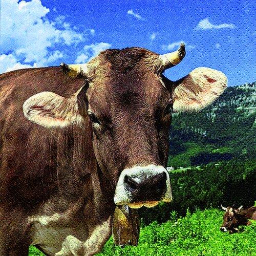 20 Servietten Kuh in den Bergen / Tiere / Tiermotiv / Bayern 33x33cm