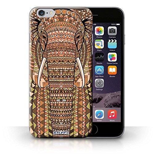 Hülle für iPhone 6+/Plus 5.5 / Wolf-Purpur / Aztec Tier Muster Kollektion Elefant-Orange