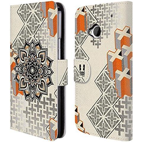 Head Case Designs Mandala E Croce Arte Puntiforme 2 Cover telefono a portafoglio in pelle per HTC One M7 - Croce Cucita Arte