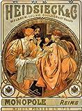 Alphonse Mucha Kunst Nouveau 'Heidsieck und Co' Grußkarte–Note Papier, jeden Anlass in Zellophanfolie verpackt 21x 14,5cm, mit Umschlag