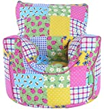 Cotton Patchwork / Ladybird Bean Bag Arm Chair with Beans