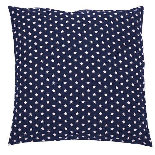 Sugarapple Kinder Kissenbezug 50cm x 50cm mit Reißverschluss, Kissen Bezug aus 100% Öko-Tex Standard 100 Baumwolle, ideal als Bezug für Dekokissen, Sitzkissen oder Kopfkissen, dunkelblau mit weißen Sternen