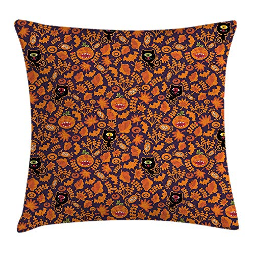 (WYICPLO Vintage Halloween Throw Pillow Cushion Cover, Halloween Themed Elements on a Purple Background Scary Mosters, Decorative Square Accent Pillow Case, 18 X 18 inches, Dark Purple Orange)